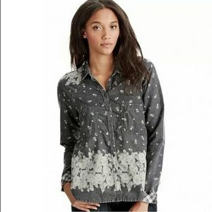 Free People Gray Floral Button Front Shirt